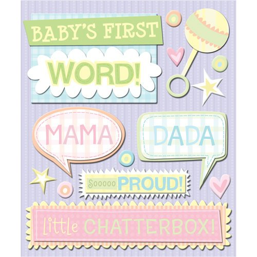 K and Company - Life's Little Occasions Collection - 3 Dimensional Stickers with Glitter and Puffy Accents - First Word