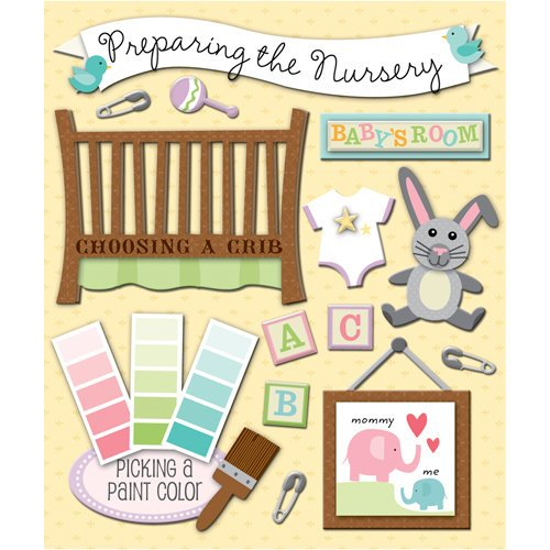 K and Company - Life's Little Occasions Collection - 3 Dimensional Stickers  with  Glitter and Puffy Accents - Preparing The Nursery