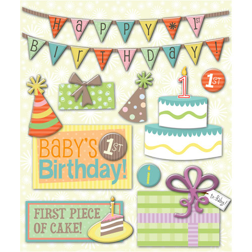 K and Company - Life's Little Occasions Collection - 3 Dimensional Stickers with Glitter Accents - First Birthday