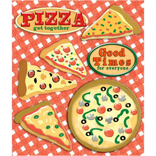 K and Company - Life's Little Occasions Collection - 3 Dimensional Stickers  with  Epoxy and Glitter Accents - Pizza