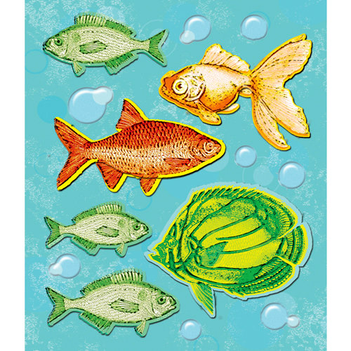 K and Company - Life's Little Occasions Collection - 3 Dimensional Stickers with Epoxy Accents - Fish