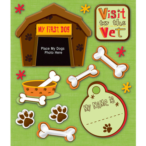 K and Company - Life's Little Occasions Collection - 3 Dimensional Stickers with Epoxy and Glitter Accents - Pet First Dog