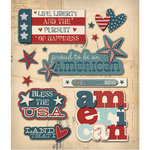 K and Company - Life's Little Occasions Collection - 3 Dimensional Stickers with Epoxy and Glitter Accents - Americana Words, CLEARANCE