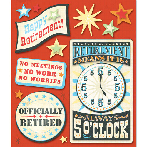 K and Company - Life's Little Occasions Collection - 3 Dimensional Stickers  with  Epoxy Accents - Retirement