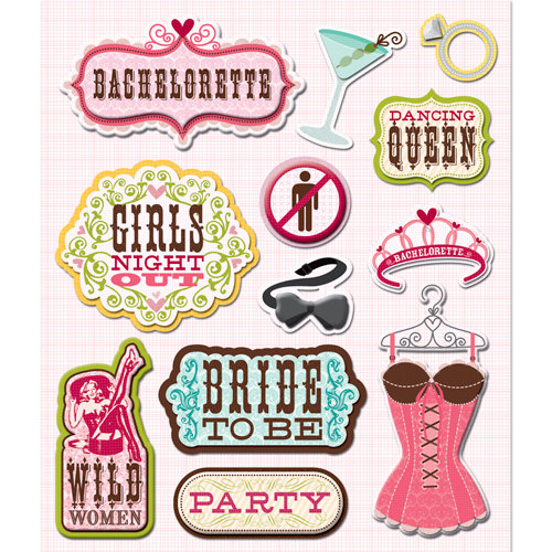 K and Company - Life's Little Occasions Collection - 3 Dimensional Stickers  with  Epoxy and Varnish Accents - Bachelorette Party