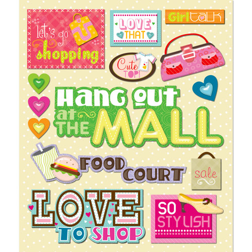 K and Company - Life's Little Occasions Collection - 3 Dimensional Stickers with Glitter Accents - Mall