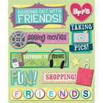 K and Company - Life's Little Occasions Collection - 3 Dimensional Stickers  with  Epoxy and Glitter Accents - Hanging with Friends