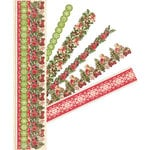 K and Company - Yuletide Collection - Christmas - Adhesive Paper Borders with Glitter Accents, CLEARANCE