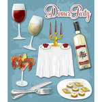K and Company - Life's Little Occasions Collection - 3 Dimensional Stickers  with  Epoxy and Foil Accents - Formal Dinner Party