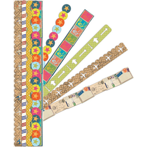 K and Company - Par Avion Collection - Adhesive Paper Borders with Varnish Accents, CLEARANCE