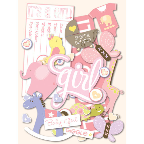 K and Company - Itsy Bitsy Collection - Die Cut Cardstock Pieces with Glitter Accents - Baby Girl