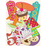 K and Company - Confetti Collection - Die Cut Cardstock Pieces with Glitter Accents