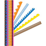 K and Company - Sheer Simplicity Collection - Adhesive Paper Borders with Glitter Accents - Primary