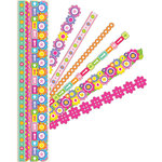 K and Company - Adhesive Paper Borders with Glitter Accents - Floral Bright, CLEARANCE