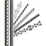 K and Company - Sheer Simplicity Collection - Adhesive Paper Borders with Glitter Accents - Black and White
