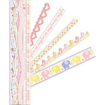 K and Company - Itsy Bitsy Collection - Adhesive Paper Borders with Glitter Accents - Baby Girl
