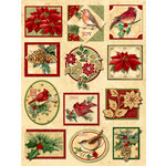 K and Company - Glad Tidings Collection - Christmas - Grand Adhesions with Foil Accents - Floral and Bird, BRAND NEW