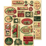 K and Company - Glad Tidings Collection - Christmas - Adhesive Chipboard with Foil Accents - Words