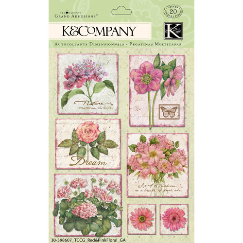 K and Company - Cottage Garden Collection by Tim Coffey - Grand Adhesions with Glitter Accents - Pink Floral, CLEARANCE