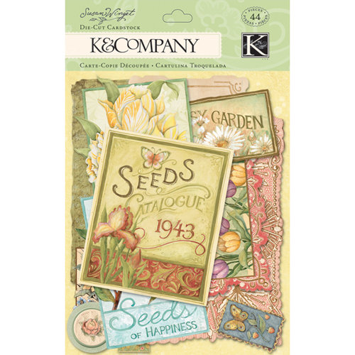K and Company - Spring Blossom Collection - Die Cut Cardstock Pieces with Glitter Accents - Seed Packet