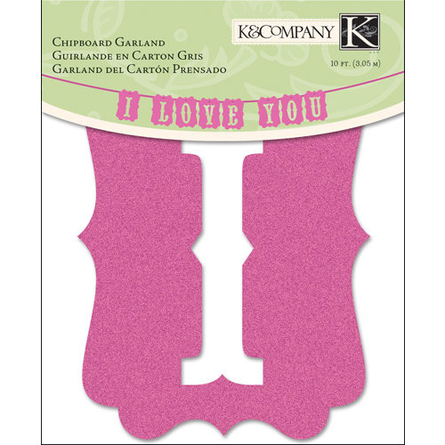 K and Company - Valentine Collection - Chipboard Glitter Garland