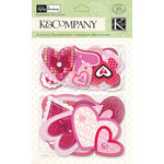K and Company - Valentine Collection - Layered Accents with Foil and Gem Accents - Hearts