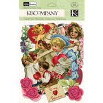 K and Company - Valentine Collection - Die Cut Cardstock Pieces with Glitter Accents - Ephemera, CLEARANCE