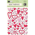 K and Company - Valentine Collection - Glitter Pillow Stickers - Heart