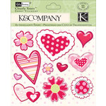 K and Company - Valentine Collection - Clearly Yours - Epoxy Stickers - Hearts