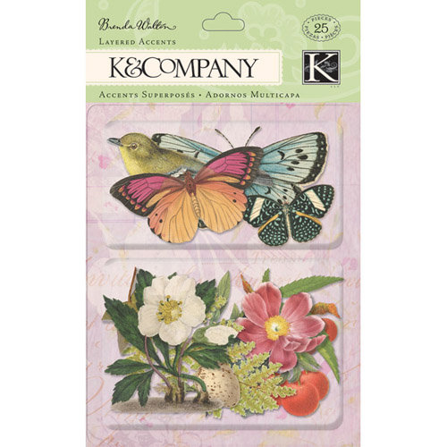 K and Company - Flora and Fauna Collection - Layered Accents with Glitter Accents - Botanical Butterflies