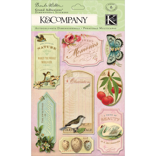 K and Company - Flora and Fauna Collection - Grand Adhesions with Glitter and Gem Accents - Word, CLEARANCE