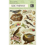 K and Company - Flora and Fauna Collection - Grand Adhesions with Foil and Gem Accents - Birds and Leaves