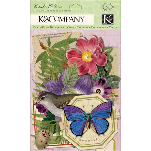 K and Company - Flora and Fauna Collection - Die Cut Cardstock and Vellum Pieces with Glitter Accents