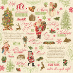 K and Company - Yuletide Collection - Christmas - 12 x 12 Paper - Words, Phrases and Icons, CLEARANCE