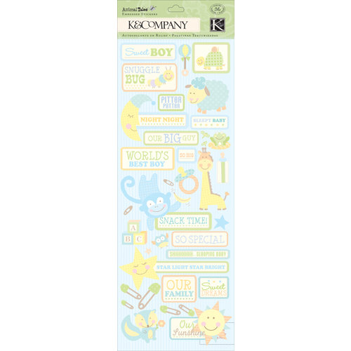 K and Company - Animal Tales Collection - Embossed Stickers - Baby Boy