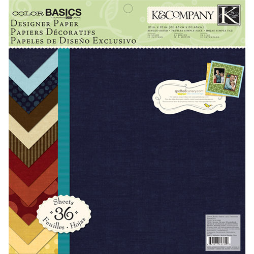 K and Company - Color Basics Collection - 12 x 12 Designer Paper Pad - Imbue