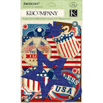 K and Company - Americana Collection - Die Cut Cardstock Pieces with Glitter Accents