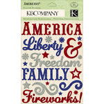 K and Company - Americana Collection - Glitter Stickers - Word