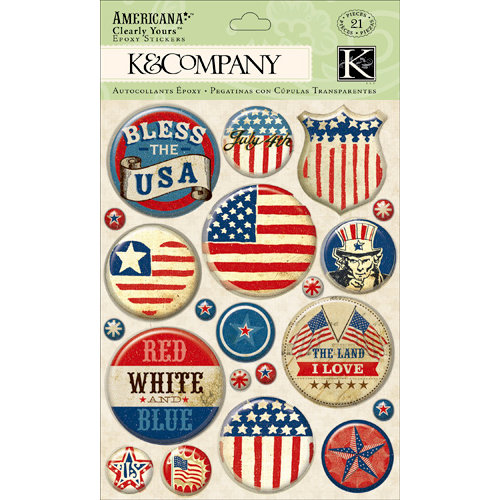 K and Company - Americana Collection - Clearly Yours - Epoxy Stickers with Foil Accents - Badge