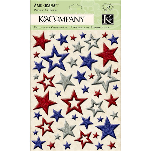 K and Company - Americana Collection - Glitter Pillow Stickers - Star