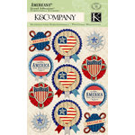 K and Company - Americana Collection - Grand Adhesions with Glitter and Gem Accents - Medallions
