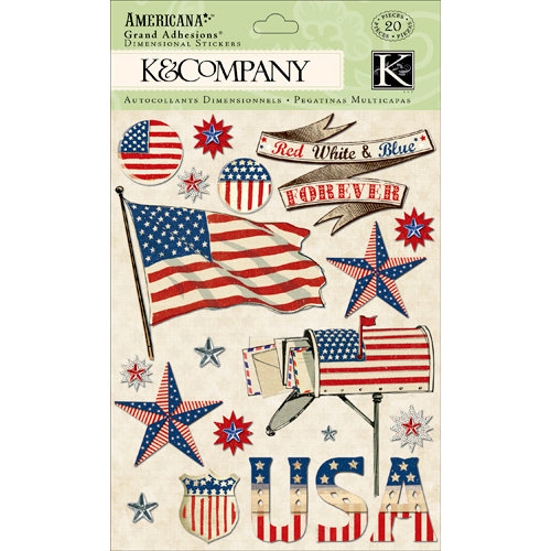 K and Company - Americana Collection - Grand Adhesions with Foil and Gem Accents - Flag, CLEARANCE