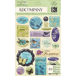 K and Company - Botanical Collection - Clearly Yours - Epoxy Stickers with Glitter Accents - Word