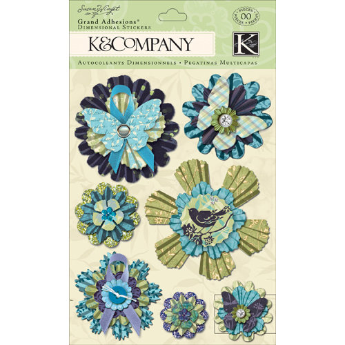 K and Company - Botanical Collection - Grand Adhesions with Gem and Glitter Accents - Medallion