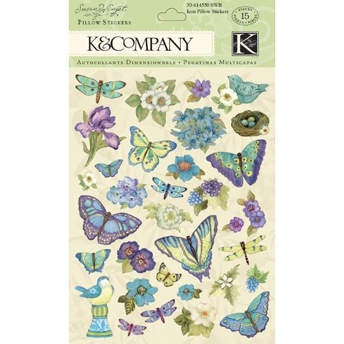 K and Company - Botanical Collection - Glitter Pillow Stickers - Icon