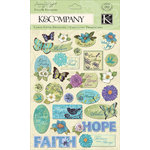 K and Company - Botanical Collection - Glitter Pillow Stickers - Words