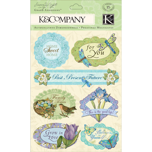 K and Company - Botanical Collection - Grand Adhesions with Glitter Accents - Word