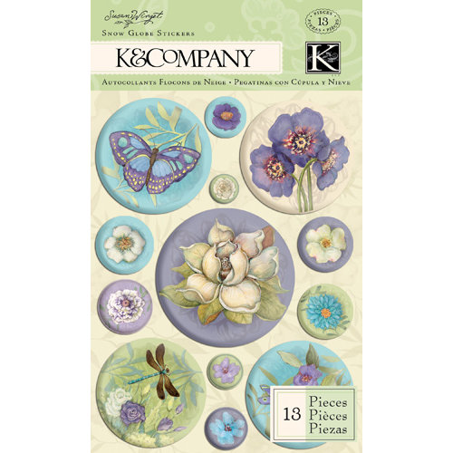 K and Company - Botanical Collection - 3 Dimensional Stickers with Glitter Accents - Snow Globe