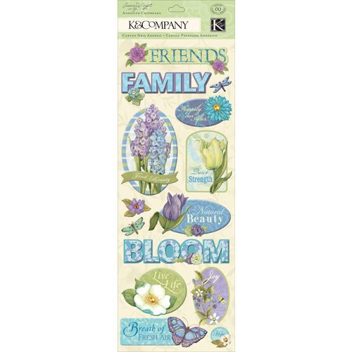 K and Company - Botanical Collection - Adhesive Chipboard with Gem and Glitter Accents - Word