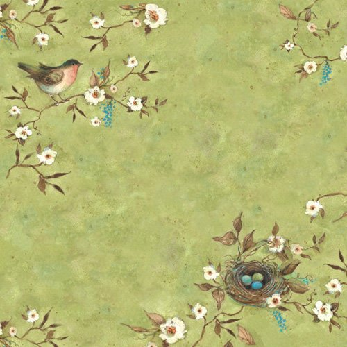 K and Company - Botanical Collection - 12 x 12 Paper with Glitter Accents - Robin